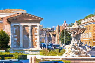 Rome. Temple of Portuno and acient landmarks of eternal city of Rome
