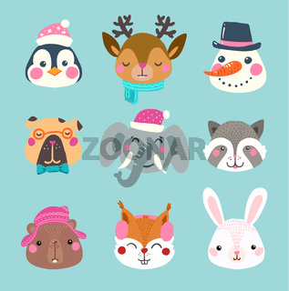 Set of winter cute animal and snowman faces.