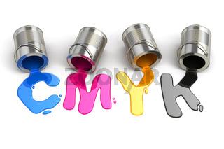 Spilled CMYK paint. 3d