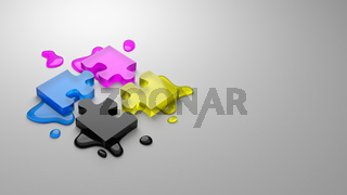 CMYK Four Colors Glassy Puzzle Pieces Combined with Ink Stains on Gray Background with Copy Space 3D Illustration