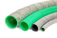 Green plastic pipe on an isolated background.