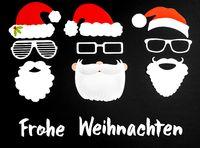 Three Santa Claus Mask, Black Background, Frohe Weihnachten Mean Merry Christmas