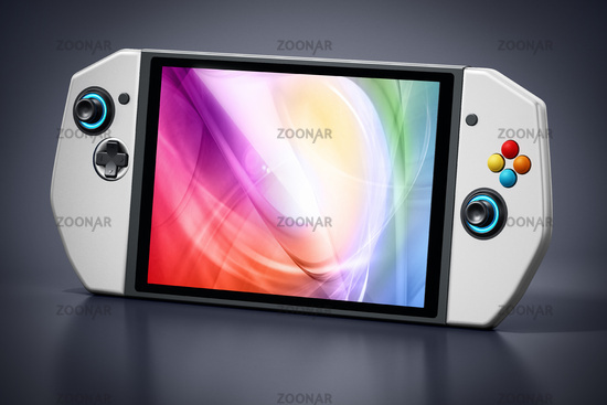 Portable video game console isolated on black background. 3D illustration