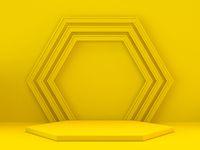Hexagonal yellow podium 3D