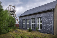 Historic slate mining Lehesten - engine house with pithead frame