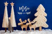 Christmas Tree, Moose, Snow, Merci Means Thank You