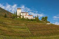 Lebensberg castle on the Marling Waalweg path above Meran, South Tyrol