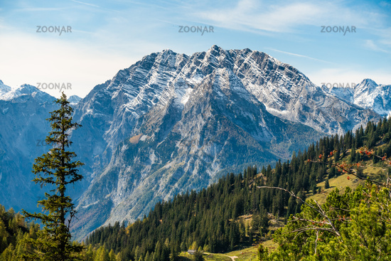 View of the east face of the Watzmann seen from the Jenner, Berchtesgaden National Park