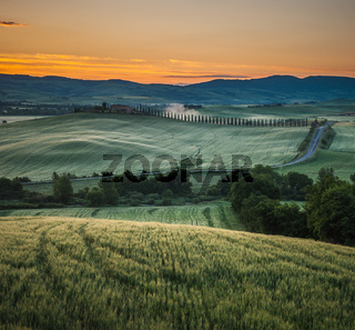 sunrise in tuscany, typical tuscan landscape