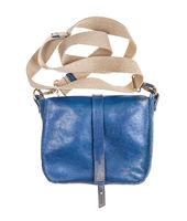 back side of blue handbag with textile strap