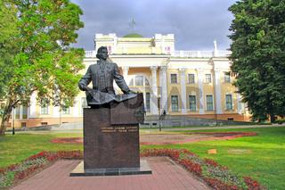 Monument to Nikolay Rumyantsev in city park of Gomel