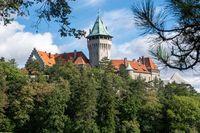 Smolenice Castle through trees