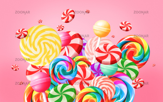 Bright sweet food background with candies and lollypops