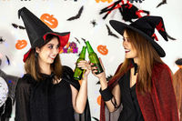 Asian women celebrate cheers in Halloween party