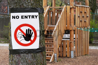 Closed playground with no entry sign