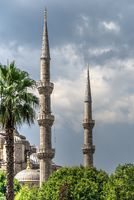 Minarets of the mosque of Hagia Sophia in Istanbul, Turkey