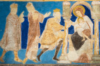 Romanesque fresco. The holy kings bring their gifts to the Christ child. Bjaresjo churh, Sweden