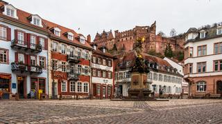 Cornmarket, ger. Kornmarkt and Monument of Kornmarktmadonna in Downtown of City Heidelberg, Baden-Wuerttemberg, Germany. Europe