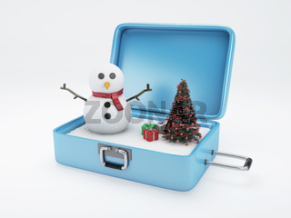 Travel suitcase. winter vacation, Holidays Concept.