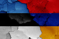 flags of Estonia and Armenia painted on cracked wall