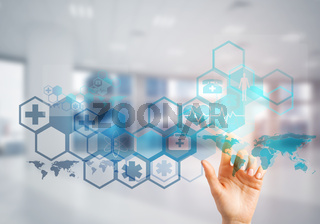 Innovative technologies for science and medicine in use by female doctor or scientist