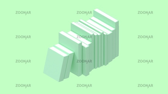 3D rendering of books isolated on empty space light bright background