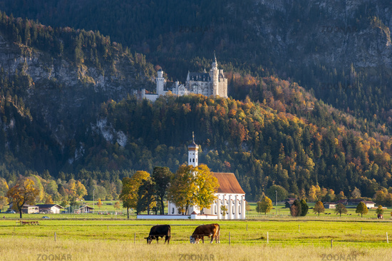 castle Neuschwanstein and pilgrimage church St. Coloman in Bavaria, Germany