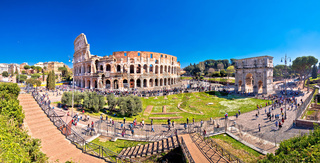 Rome. Colosseum of Rome and Arch of Constantine scenic panoramic view