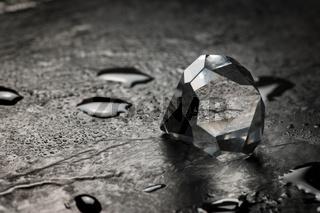Cut crystal on slate rainy