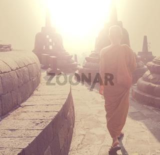 Monk in Borobudur