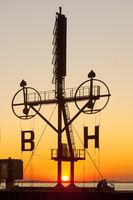 Semaphore, signal mast, Bremerhaven, Bremen, Germany, Europe