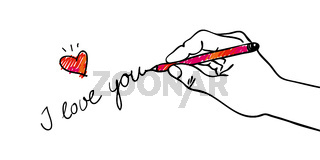 Give away his heart - Hand writing I love you with a cute decorative red pink heart