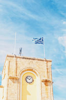 Greek flag and blue sky, travel and politics