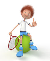 The 3D boy plays tennis.