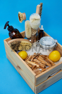 box with clothespins and natural cleaning supplies