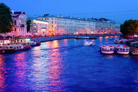 Night canal, boats, Saint Petersburg