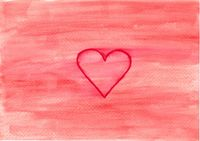 Hand paintet watercolor wash background in red with a red heart as a sign of love