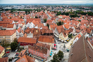 Aerial View of the Skyline of Nordlingen Bavaria in Germany