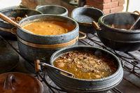 Traditional Brazilian farm food on old wood stove