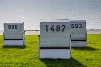White wicker chairs, Buesum, Schleswig-Holstein, Germany