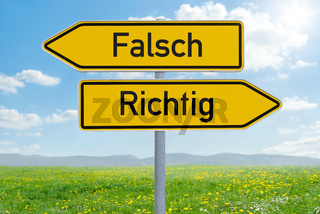 Two direction signs - Wrong or Right - Falsch oder Richtig (german)