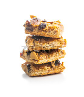 Crunchy cereal cookies with nuts and raisins isolated