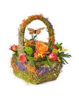 Flowers bouquet in basket