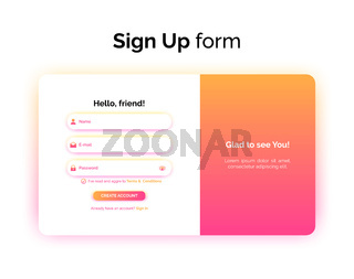 Sign up form, web design, UI UX registration interface with gradient, vector illustration.