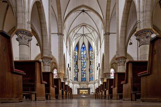 inside view of St. Augustinus church, Gelsenkirchen, Ruhr area, Germany, Europe