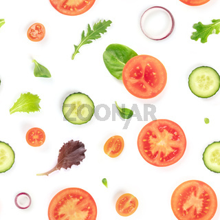 A seamless pattern of fresh vegetables and salad leaves. Tomato, cucumber, onion slices and mezclun leaves repeat print