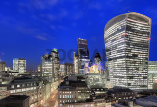 Elevated view of the Financial district of London