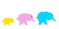 Illustration An elephant family with dad, mom and baby elephant