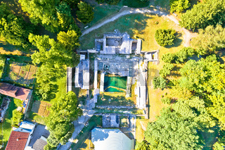 Aerial view of old Roman thermal springs ruins in town of Varazdinske Toplice