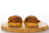 Bbq pulled pork burgers.